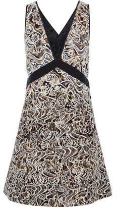 Roberto Cavalli Embroidered Printed Silk-Georgette Mini Dress