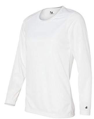 Badger Sportswear Women's B-Dry Long Sleeve Performance Tee, White, Medium