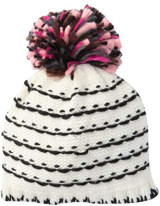 Natasha Accessories Multi Color Knit Hat With Large Yarn Pompom