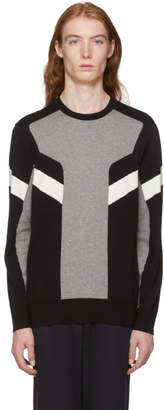 Neil Barrett Black and Grey Modernist Sweater