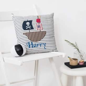 Elm Tree Studio Personalised Pirate Ship Appliqued Cushion