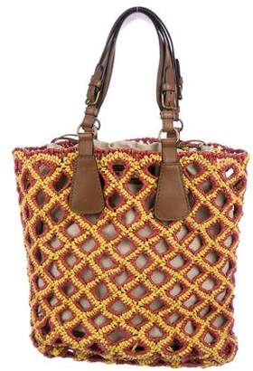 Marni Leather-Trimmed Woven Straw Tote