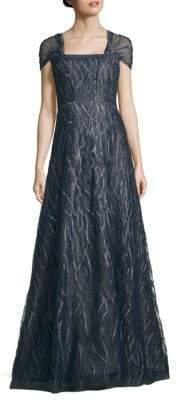 Sheer Sleeve Floor-Length Gown