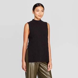 Prologue Women's Sleeveless Mock Turtleneck Cable Tabard Sweater Vest - Prologue Black
