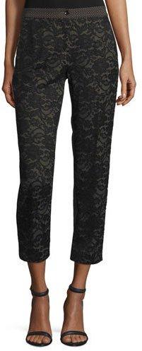 EtroEtro Lace & Jacquard Cropped Pants, Black/Brown
