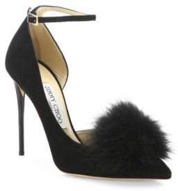 Jimmy Choo Rosa Fox Fur Pom-Pom & Suede d'Orsay Ankle-Strap Pumps