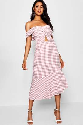 boohoo Anabel Asymmetric Gingham Midi Dress