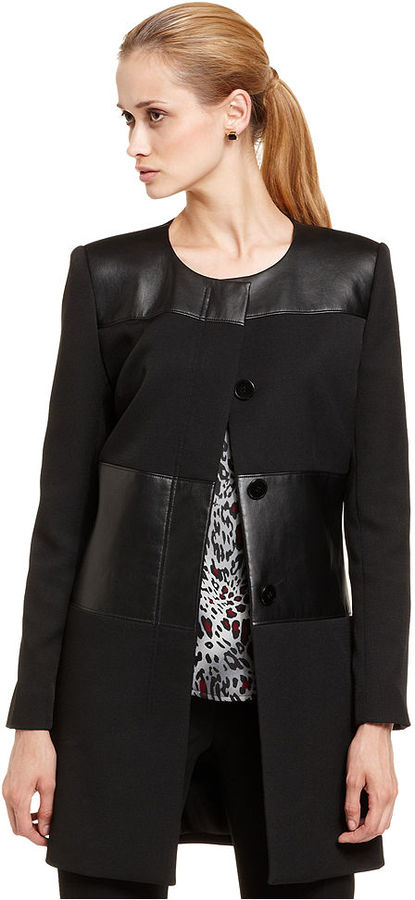 Nine West Coat, Faux-Leather Panel Collarless