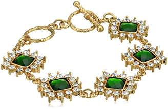 1928 Jewelry Gold-Tone Green and Crystal Toggle Bracelet of 40.64-48.26cm