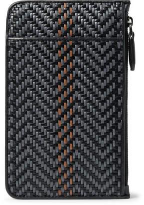 Ermenegildo Zegna Pelle Tessuta Leather Pouch - Men - Black