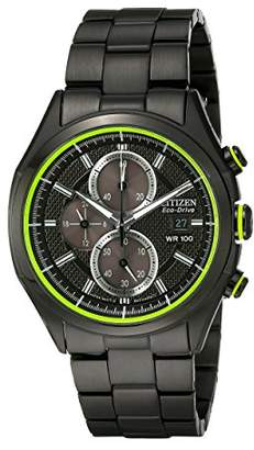 Citizen Drive from Eco-Drive Men's Black Ion Plated Chronograph Watch with Date