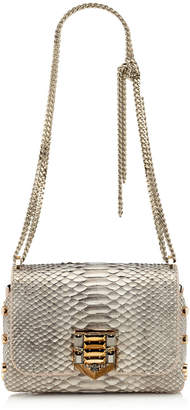 Jimmy Choo LOCKETT PETITE Optic White and Light Honey Metallic Tipped Python with Pave Crystal Lock Shoulder Bag