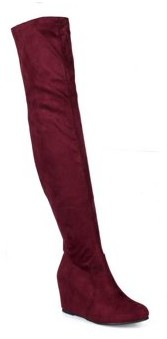 Nature Breeze Over the Knee Women's Hidden Wedge Boots in Burgundy