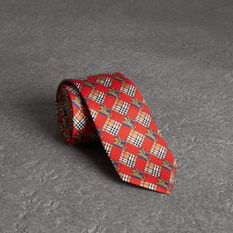 Burberry Modern Cut Check and Equestrian Knight Silk Tie, Red