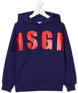 MSGM Kids printed logo hoodie