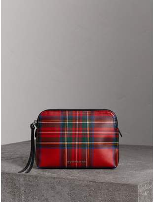 Burberry Large Laminated Tartan and Check Wool Blend Pouch