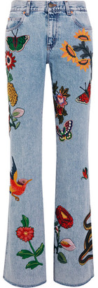 Gucci - Appliquéd Mid-rise Flared Jeans - Light denim $2,390 thestylecure.com