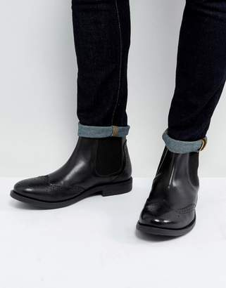 Frank Wright Brogue Chelsea Boots Black Leather