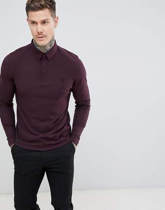 Fred Perry oxford collar long sleeve polo in burgundy