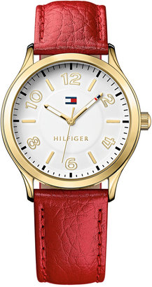 Tommy Hilfiger Women's Red Pebble Leather Strap Watch 38mm 1781601 $65 thestylecure.com