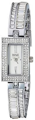 Badgley Mischka Women's BA/1387SVSV Swarovski Crystal Accented -Tone Bangle Watch