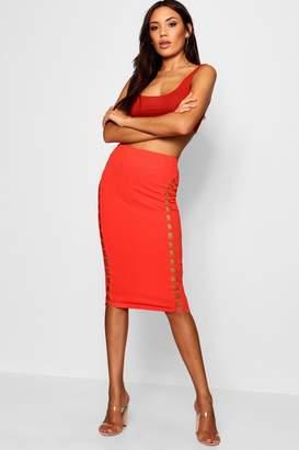 boohoo Lattce Front Crepe Midi Skirt