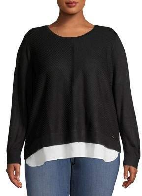 Calvin Klein Plus Chevron-Knit Layered-Hem Sweater