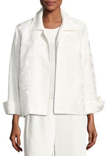 Caroline RoseCaroline Rose Jasmine Floral Jacquard Jacket, White, Plus Size