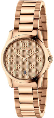 Gucci 27mm Unisex G-Timeless Bracelet Watch, Rose Golden