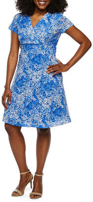 Ronni Nicole Short Sleeve Floral Lace Fit & Flare Dress-Petite