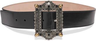 Embellished Leather Belt - Black