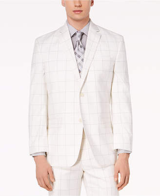 Sean John Closeout! Men's Classic-Fit Stretch White/Gray Windowpane Suit Jacket