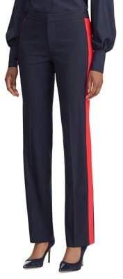 Lauren Ralph Lauren Side-Stripe Wool-Blend Straight-Leg Pants