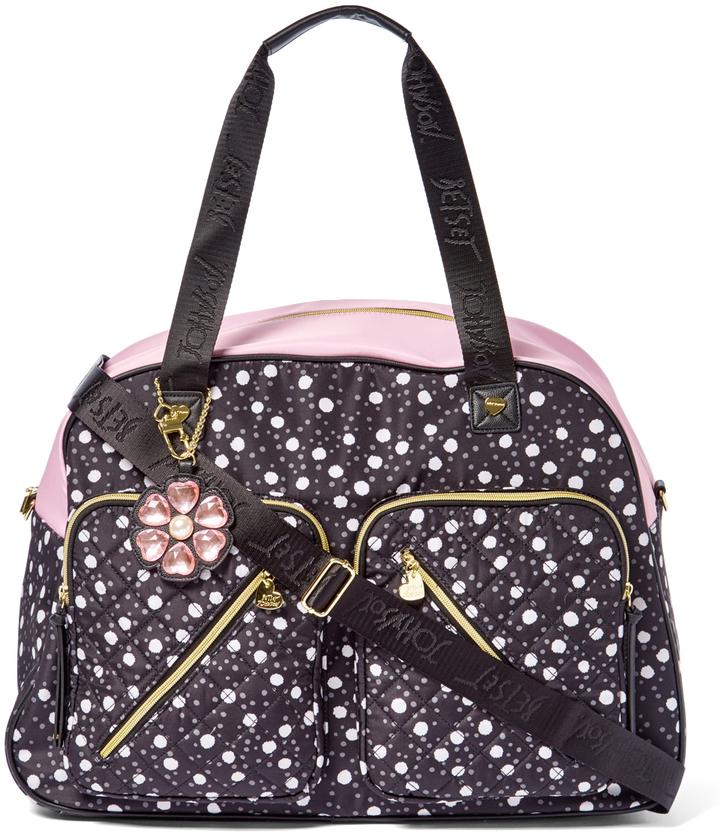 Betsey JohnsonBlack & White Dot Quilted Weekender Bag