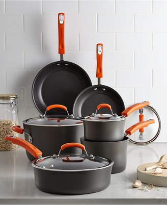 Rachael Ray Hard-Anodized 10 Piece Cookware Set, Orange