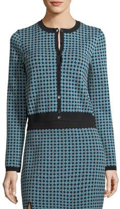 ALEXACHUNG Alexa Chung Monogram Jacquard Button-Front Cardigan