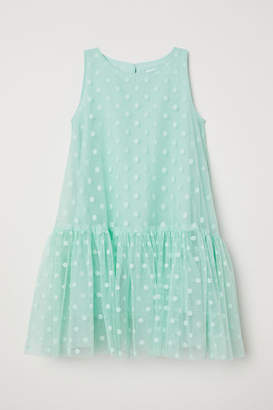 H&M Flared Mesh Dress - Turquoise
