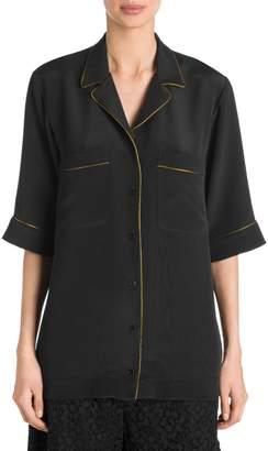 Stella McCartney Piped Silk Pajama Shirt