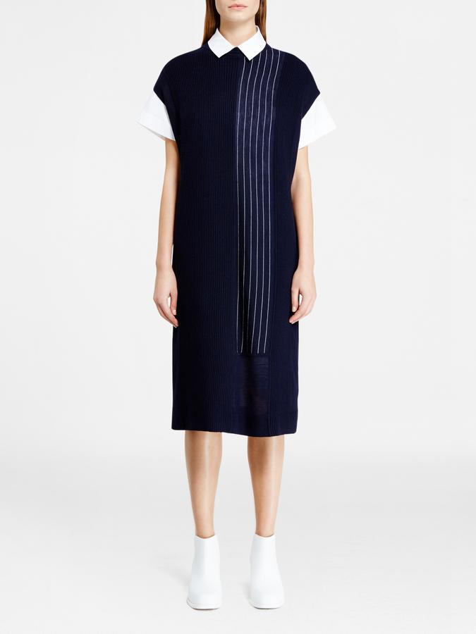 DKNYPieced Pinstripe Midi Dress
