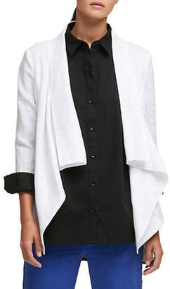 DKNY Colourblocked Draped Linen Jacket