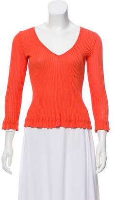 Philosophy di Alberta Ferretti Rib Knit V-Neck Top