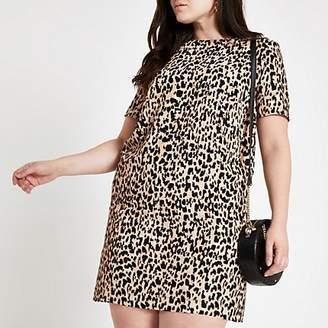River Island Plus brown leopard print T-shirt dress