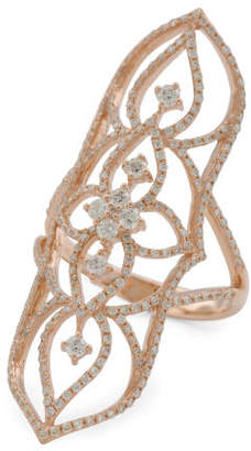 14k Rose Gold And Diamond Open Work Knuckle Ring