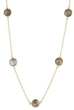 Lord & Taylor Gold-Tone Chain & Pendant-Accented Necklace
