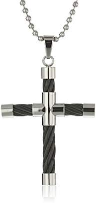 Men's -Tone Stainless Steel Cable Cross Pendant Necklace
