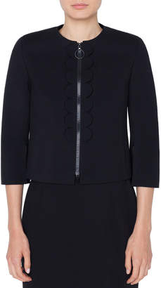 Akris Punto 3/4-Sleeve Scalloped-Jersey Zip-Front Jacket