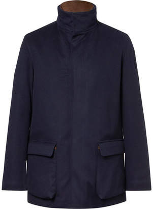 Loro Piana Winter Voyage Suede-Trimmed Storm System Baby Cashmere Field Jacket