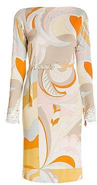 Emilio Pucci Women's Marilyn Lace Trim Print Belted Dress