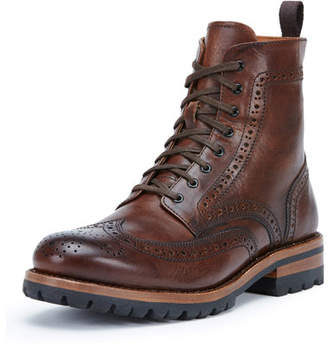 Frye George Lugged Brogue Lace-Up Boots, Cognac