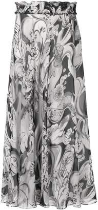 Moschino flared printed skirt